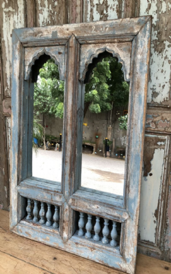 Mirror made from a double mehrab arch window, Gujarat <b>SOLD<b>